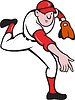 Baseball-Spieler Pitcher Werfen Cartoon