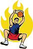 Basketball Spieler Dunking Kugel