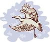 Reiher fliegen Kran Seitenansicht
