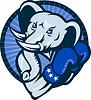 Elefant mit Boxhandschuhe Demokrat Maskottchen