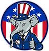 Republican Elephant Mascot Thumbs Up USA Flag | Stock Vektrografik