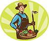 Landwirt mit Garten Hacke und Korb Getreideernte