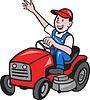 잔디 깎는 사람 트랙터에 농부 운전 탐 | Stock Vector Graphics