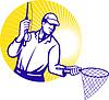 Fly Fisherman Fishing Net Retro Holzschnitt
