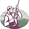 Fly Fisherman Fishing Retro Holzschnitt