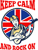 Bleib 'ruhig Rock On British Flag Königin Granny Gitarre