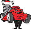 Lawn Mower Man Standing Arms Folded Cartoon
