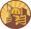 Векторный клипарт: Строитель строительный кран Ретро