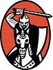 Ritter Kreuzritter mit Schwert Reiten Retro