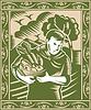 Organic Farmer mit Korb Ernten Retro