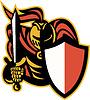 Ritter mit Schwert und Schild Retro