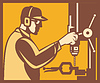 Factory Worker Operator Mit Drill Press Retro