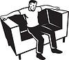 Man sitzt auf Couch Chair