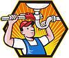Водопроводчик работник с регулируемый гаечный ключ | Векторный клипарт