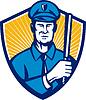 Polizist Polizist Baton Schild Retro