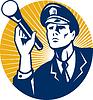Polizist Wachmann mit Taschenlampe Retro