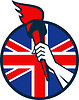 Hand Halten Fackel Britische Flagge