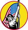 Amerikanischen revolutionären Soldaten mit Sternen und