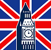 London Big Ben britische Union Jack-Flagge