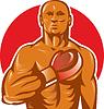 Boxer mit Boxhandschuhen Hand auf der Brust