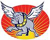 Bulldogge Mischling Hund mit Flügeln fliegen