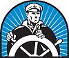 Ship captain helmsman steering wheel | Stock Vector Graphics
