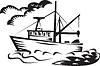 kommerzielle Fischerei Boot, Schiff, Meer Holzschnitt