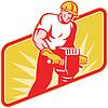 Robotnik budowlany z Jack Hammer wiercenia | Stock Vector Graphics