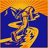 Maratończyk działa na drogi z gór | Stock Vector Graphics