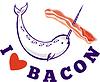 Narwal Wal i love bacon | Stock Vektrografik