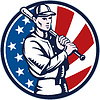 야구 선수 지주 방망이 미국 국기 | Stock Vector Graphics