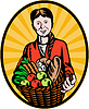 weiblich Biobauer Getreideernte Warenkorb
