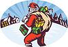santa claus Tasche präsentiert Winter Schnee Haus