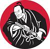 Japanische Samurai-Krieger Zeichnung Schwert