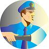 Wachdienst Polizist Offizier Taschenlampe Fackel