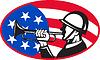 Amerikanischer Soldat mit Signalhorn und Flagge