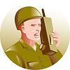militärischen Soldaten reden Radio Walkie-Talkie
