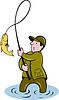 ID 3964518 | Rybaka przylot połowów ryb nawijania | Klipart wektorowy | KLIPARTO
