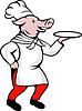 Cartoonschwein Chefkochbäckers Servierplatte