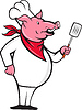 Wild Pig Hog Chef mit Spachtel Cartoon
