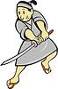 Japanische Samurai-Krieger mit Schwert