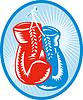 roten und blauen Boxhandschuhe