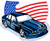 Amerikanischen Ford GT muscle car mit Fahne