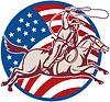 Cowboy Reiten mit Lasso und american flag