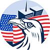 Amerikanischer Adler Flagge und Twin Tower Gebäude