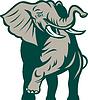 Африканский слон атакует зарядки | Векторный клипарт