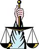 Hand hält Waage der Gerechtigkeit