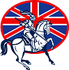 Vector clipart: Knight on horse with lance and British flag