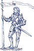 Vector clipart: Knight standing with lance and flag