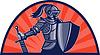 Ritter mit Schwert und Schild zugewandten Seite